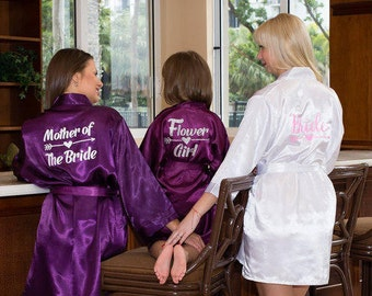 Flower Girl Robe, Flower Girl Gift, Bridal Robe, Bride Robe, Bridal Party Robes, Bridesmaid Gift, Silky Robe, Satin Robe,Bridesmaid Robes