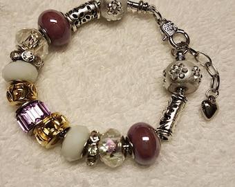 Lavender and Silver Beaded Bracelet