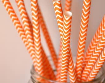 10 Orange Striped Paper Straws
