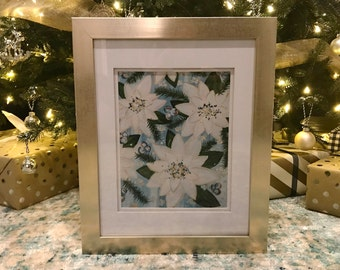 5x7 Framed and Matted Snowy Poinsettias Print