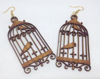 1 pair wooden earring - 74mm x 35mm - 1pair- sewing, wooden earrings, apparels   - HA-04
