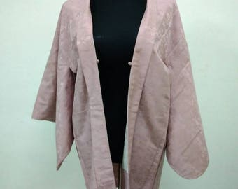 Japanese haori kimono light pink floral kimono jacket /kimono cardigan/kimono robe/#011