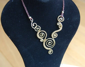 Wire wrapped necklace / womens bib / brass wire / Spiral necklace / elegant and beautiful