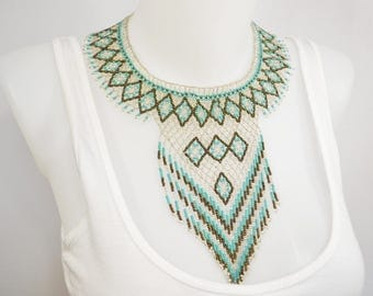 LUUV - TLATAYA - silver necklace / green - style Bohemian exotic