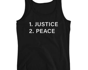 Justice Before Peace Ladies' Tank - White Print