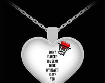 To My FIANCEE! Heart Pendant Shape, Premium Silver Plated Necklace.