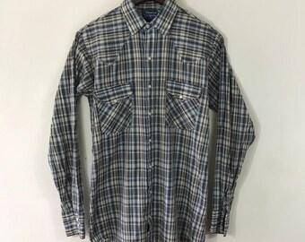 Vintage 1980s, Men's Button Down Western Shirt, Western Wear, Plaid, Cowboy, Country Western, Tall Man