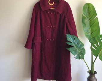 Vintage Plus Size 1960's Cranberry Bouche Coat