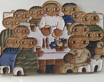 LAST SUPPER  Handmade Ceramic Trivet/Plaque by Saint Andrew's Priory - OOAK
