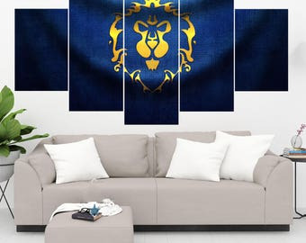 World of Warcraft Alliance 5 Panel / Piece Canvas Set WoW Wall Art Print Alliance Poster Artwork Wall Decor Painting Decal Mural Decoration