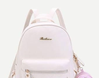 Studded PU Backpack With Mini Backpack Charm