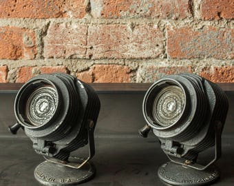 Decorative Antique Photography Lights circa the 1940s by Fink-Roselieve of New York City - Hi-Spot Spotlights - Aluminum - Studio - Pair