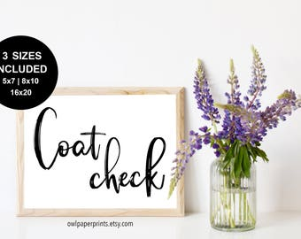 Coat Check Sign - Printable PDF, Wedding Coat Sign, Event Coat Sign, Hang Your Coat, Coat Closet, Party Coat