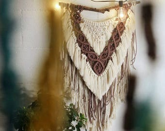 V-shaped Macrame wall hanging | home decor | Cotton macrame decor | Boho decor | Modern macrame design