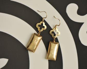 Brushed gold earrings, gold earrings, modern metal flower geometric clover earrings, quatrefoil earrings