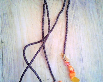 Leather Wrap necklace colorful yellow and orange beads