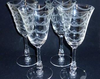 4 Fostoria REGENCY WATER Crystal Goblets Vintage glasses stemware etched Elegant Glass Hollywood