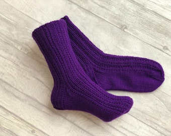 Purple Socks - Purple Wool Socks - Purple Clothing - Women Socks - Wool Socks - Wool Socks Women - Slipper Socks - Knitted Socks - Socks