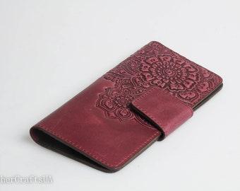 Purple leather wallet, soft leather wallet, wallet with coin pocket, long wallet for women, full grain wallet, clutch wallet, womens wallet