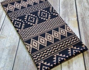 Tan & black Aztec poly lycra fabric, one yard - stretch fabric - polyester spandex knit fabric - Aztec print fabric - scuba knit