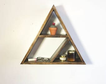 Modern Pine Geometric Triangle Split Shelf | Modern Home, Home Decor, Triangle Shelf
