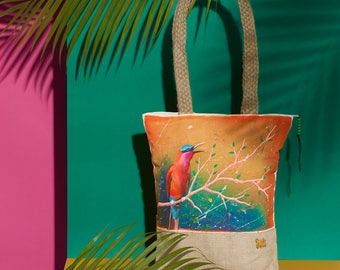 Southern Carmine Handpainted Summer Tote Bag | Handmade from the Philippines