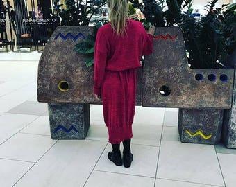 Red dress, wool dress, knit, knit dress, Italy yarn, wool yarn, 100 % wool, handmade, green dress, fashion dress, unique fashion, art