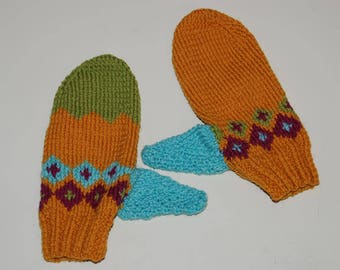 Multi-color hand-knitted woolen mittens
