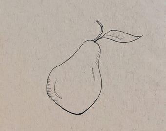 Original Ink Minimalist Fruit Drawing