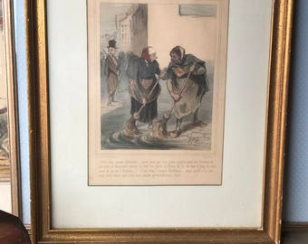 Vintage Print Late 19th Century - Street Sweepers in gold frame