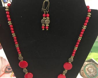Red and antique gold necklace and earrings set