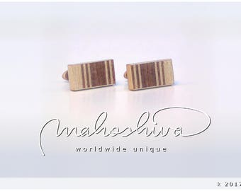wooden cuff links wood walnut maple handmade unique exclusive limited jewelry - mahoshiva k 2017-95