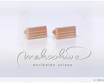 wooden cuff links wood flamed maple maple handmade unique exclusive limited jewelry - mahoshiva k 2017-07