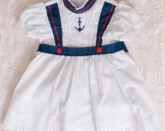 Polly Flinders Girls Smocked Sailor Dress
