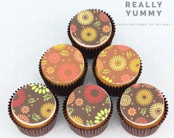 Retro flowers cupcake toppers - 6