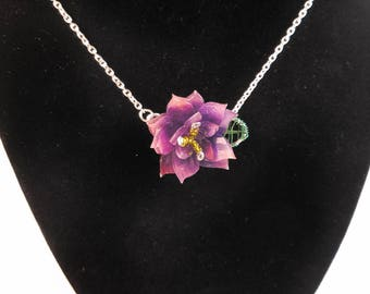 Purple Layered Flower and Leaf Pendant Necklace