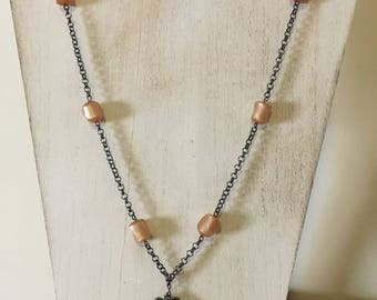 Vintage-Style Opera-Length Necklace with Butterscotch Beads and Antique Charm