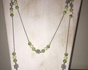Green and Cream Beads With Celtic Knots Opera-Length Necklace