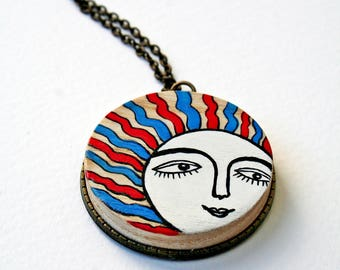 Painted jewlery-Wooden necklace-Wooden handpainted pendant-Sun face necklace-Antique bronze chain-Unique gift for her