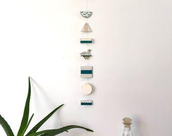 Swan wall jewelry / / teal, white