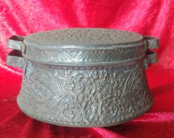 Great Condition Antique Hand Made Middle East Style Copper Spice Box #SB1