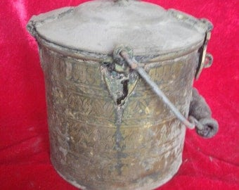 Old Style Rustic Vintage Hand Made Ottoman Antique Copper Bucket #1217
