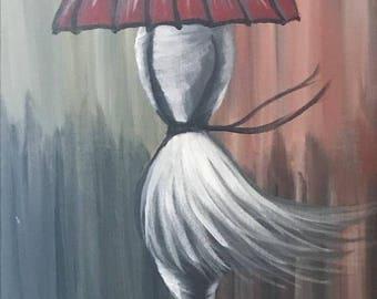 Girl in Rain Acrylic painting