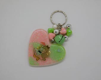 Alice in Wonderland with White Rabbit Resin Heart Key-chain/Bag-Charm