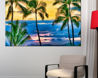 Canvas print Palm trees silhouetted against a tropical sunset Hawaii canvas art wild nature print Palm trees art print canvas wall art