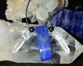 Lapis Lazuli with Quartz and Hematite Necklace