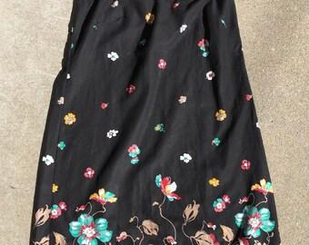 Black Floral Cotton Dress