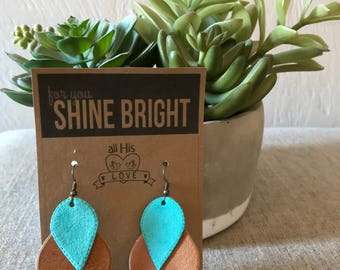 Classy Brown and Turquoise Leather Earrings