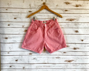 Vintage Pink Denim Shorts, Vintage Guess Jeans Pink Denim Shorts, Vintage Pink High Waist Denim Shorts by Guess