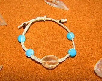 Blue Howlite and Clear Quartz macrame bracelet